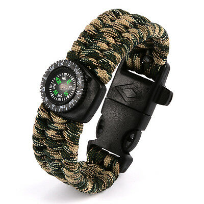 Outdoor Survival Compass Bracelet Camping Self-rescue Parachute Rope Clasp Hot