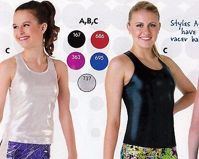 NWT Axis Racer Back Tank Top Foil 5 colors ch/ adult gymnastic Cheer Dance 97180