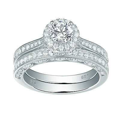 2.4Ct Round White CZ 925 Sterling Silver Wedding Band Engagement Ring Set 5-10