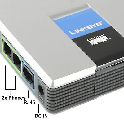 UNLOCKED LINKSYS CISCO PAP2T-NA PAP2T VoIP phone SIP Gateway Adapter New