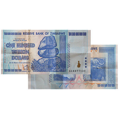 Zimbabwe 100 Trillion Dollar Aa 2008 Circulated Banknote From Bundle Zwb