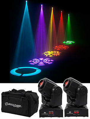 (2) American DJ ADJ Inno Pocket Spot 12W Compact LED Moving Head DMX Lights+Bag