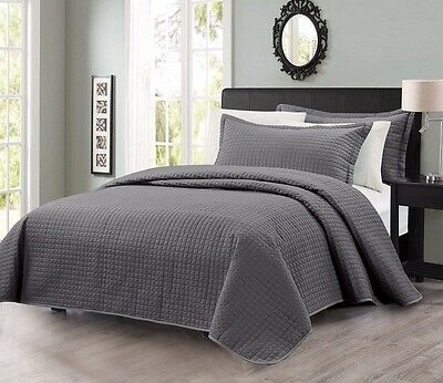 Chezmoi Collection Modern Quilted Coverlet 3-piece Set Queen, Charcoal