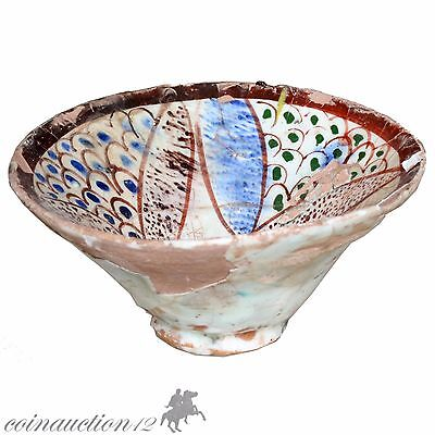 Stunning Near Eastern Islamic Terracotta Glaze Paint Bowl 1200-1400 Ad