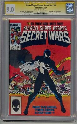 Marvel Super Heroes Secret Wars #8 Cgc 9.0 White Pages Signed Stan Lee