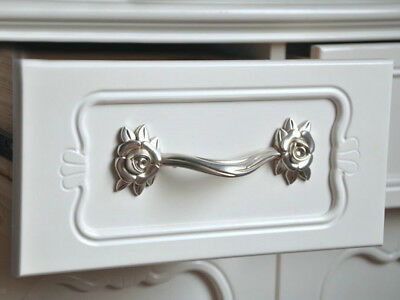 Antique Silver Rose Cupboard Cabinet Door Wardrobe Drawer Pull Handle 127mm - VINTAGE MARBLE PORCELAIN Kitchen Cabinet Handles Antique Cupboard
