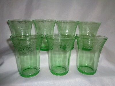 7- Depression  Green Glass Tumblers Florentine  Poppy