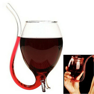 New 300ml Vampire Devil Red Wine Glass Cup Mug With Built in Drinking Tube Straw