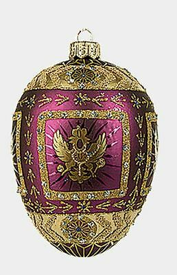 Purple Eagle Egg Faberge Inspired Glass Ornament Christmas Easter Decoration