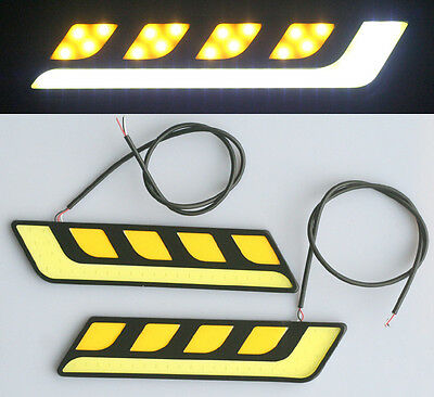 2x Dual Color White Amber Car LED DRL COB Daytime Running Light with Turn Signal