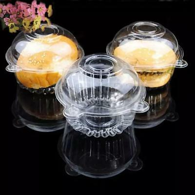 100Pcs Cupcake Holder Clear Plastic Single Muffin Case Box Pods Individual