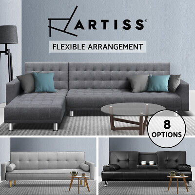 Artiss Linen Fabric/PU Leather Sofa Bed Set Couch Lounges Futon Suite Chaise