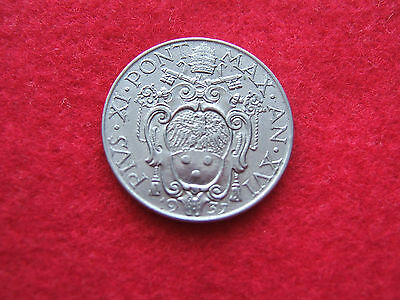 1937  Vatican / Papal States  One Lire Coin.   Nice Condition                Gu