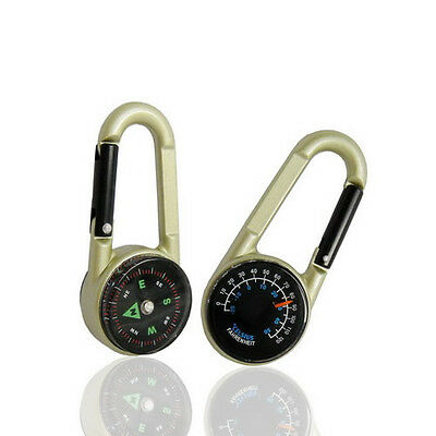 Hiking Camping 3 in 1 Metal Carabiner Mini Compass + Thermometer + Key Chain