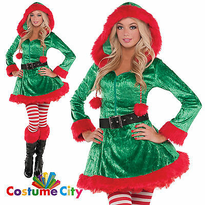 Womens Ladies Sexy Sassy Elf Helper Christmas Fancy Dress Party Costume