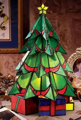 Design Toscano Christmas Tree Stained Glass Illuminated Sculpture