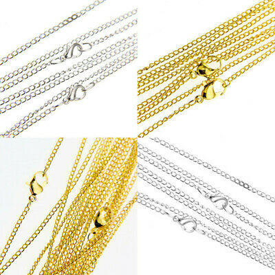 Lots 30/50/100/500/1000pcs Silver/Gold plated chain finding With Clasp 43cm,2mm
