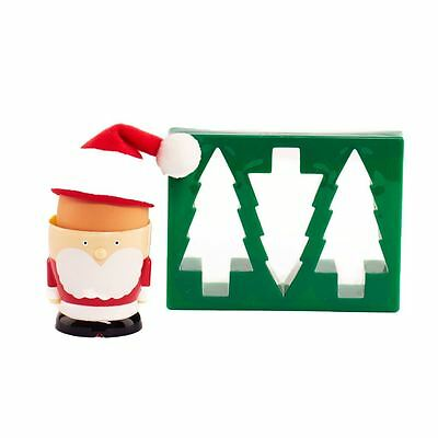 Santa Claus Father Christmas Egg Cup with Toast Cutter Gift Set - Boxed