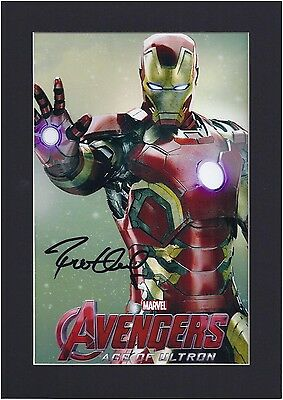 Avengers Robert Downey Jr Iron Man Signed Photo Mount Display Pre-Print A4