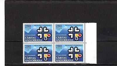 ANDORRA(FRENCH) - SGF498 MNH 1995 15th ANNIV CARITAS ANDORRANA - BLOCK OF 4