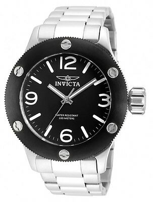 New Men's Invicta 18579 Russian Diver Black Dial Stainless Steel Watch