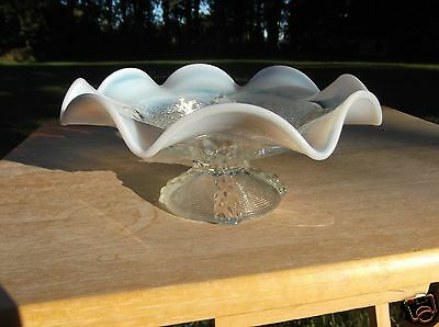 Vintage White Opalescent Ruffled Edge Clear Glass Pedestal Bowl