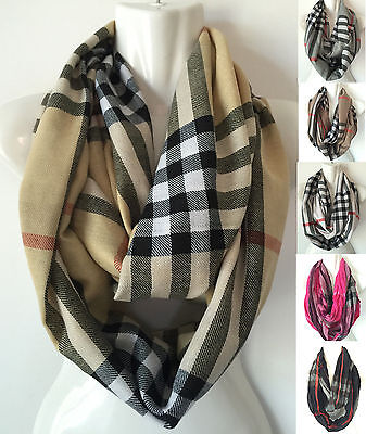 Women Winter Plaid Check Cowl Neck Soft Warm Infinity 2 Circle Scarf Loop Wrap