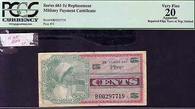 Replacement Note Series 661 PCGS VF20 5 Cents
