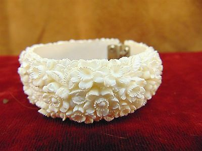 Vintage WHITE CELLULOID CARVED CLAMPER BRACELET High Detail FLORAL DESIGN 1940s