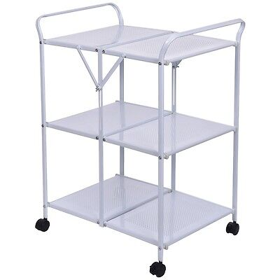 3 Tiers Folding Steel Kitchen Trolley Dining Serving Island Cart Rolling White