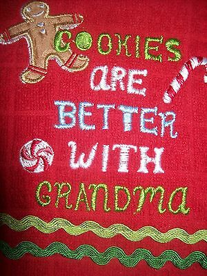 ST. NICHOLAS SQUARE 2 Christmas GRANDMA Kitchen Towels NEW W/TAGS OH WHAT FUN!