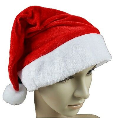 2016 Kids& Adult Soft Plush Ultra Thick Santa Claus Christmas Cap Hat red