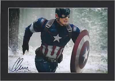 Avengers Captain America Chris Evans Signed Mounted Photo Display Pre-Print A4