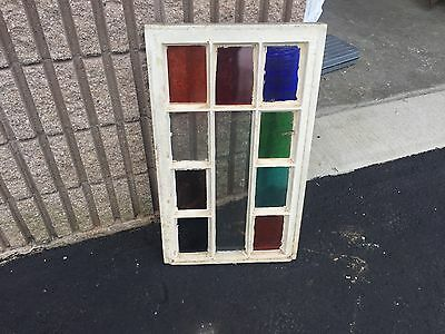 "Gorgeous antique c1880 Queen Anne STAIN glass window frame 28.75"" X 17"" - #2"