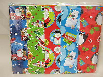 New Christmas Gift Wrap 10 Large Sheets 50cm x 70cm Flat Pack Assorted Designs
