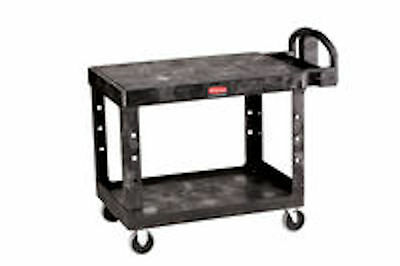 Rubbermaid Commercial Heavy Duty Flat Shelf Utility Cart 4525 Black