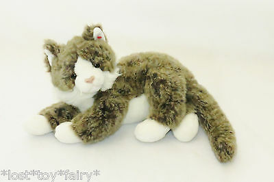 """Ty Classic O'Malley White Brown Kitty Cat Long Hair Stuffed 2002 Plush Toy 14"""""""