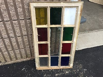 "Gorgeous antique c1880 Queen Anne STAIN glass window frame 32.5"" X 19.25""- #4"