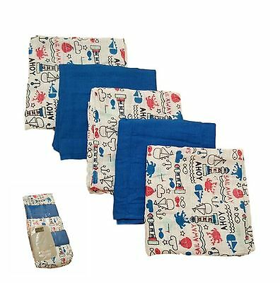 5 Pack Muslin Squares Reuseable 100% Cotton Baby Boy Blue Bib Cloth Sensitive