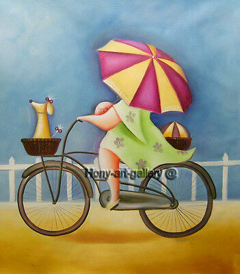 Canvas Handmade Modern abstract Oil Painting art deco Cycling girl 20x24in H2063