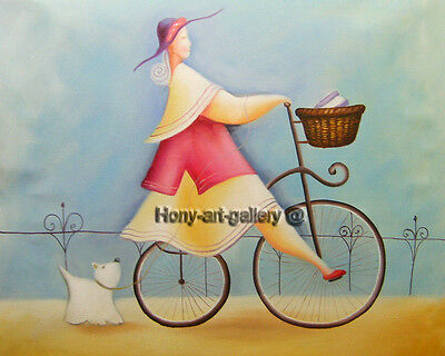 Canvas Handmade Modern abstract Oil Painting art deco Cycling girl 20x24in H2064