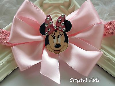 Baby Girls Reborn Pink Minnie Headband Satin Bow Elasticated Headband  HANDMADE