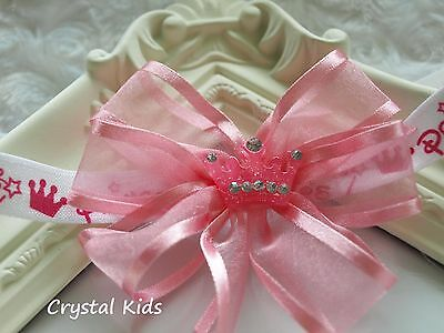 SALE ** Baby Girls Pink Princess Organza Bow Elasticated Headband ** HANDMADE **