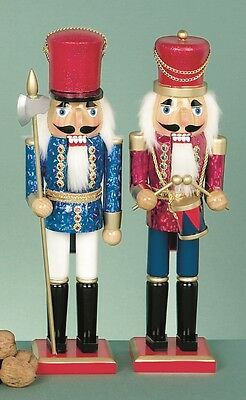 A Pair of Stunning Christmas Nutcracker Soldiers - Red & Blue - 38cm