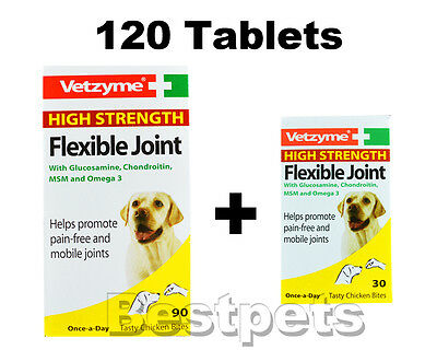 Vetzyme High Strength Flexible Joint Dog Tablets - 120,180,270,360,450,630,720