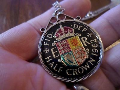 Vintage Enamelled Half Crown Coin 1962 Pendant & Necklace. Birthday Present