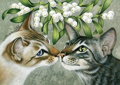Cat Greeting Card Under The Misletoe Art by Irina Garmashova
