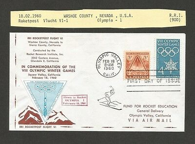 1960 USA Rocket Post Olympic Winter Games cover with triangular vignette EZ29C1