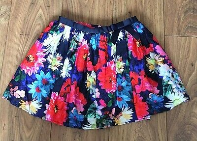 M&S Navy Blue Floral Skirt Age 10-11 Yrs Excellent Condition