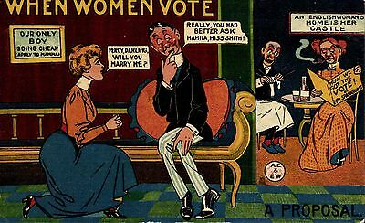 Suffragette Comic. When Women Vote by Mitchell & Watkins, London. A Proposal.